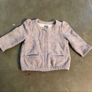 Baby Gap Marled Grey Collarless Zip Jacket 3-6m
